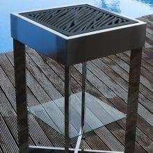 Batur Elegance Barbacoa de diseño para carbón en acero inoxidable.