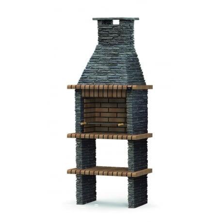 Barbacoa de obra Xisto, color ladrillo templar