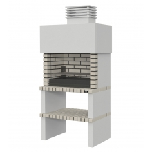 Barbacoa de Obra Twist, ladrillo gris con chimenea blanca
